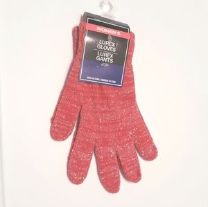 NWT women's red sparkling knit gloves.
